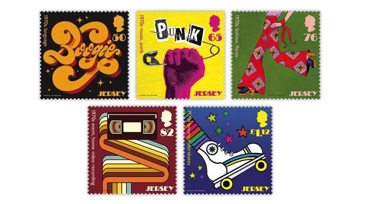 Jersey 1970s popular culture trends stamps