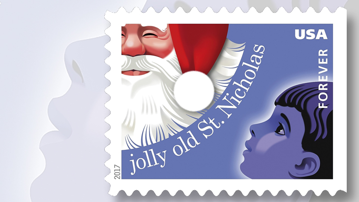 santa claus is featured on the jolly old saint nicholas forever stamp one of four christmas carols stamps to be issued oct 5 in a double sided pane of 20