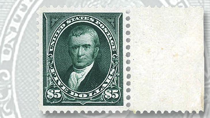 kelleher-sheet-margin-five-cent-marshall-stamp