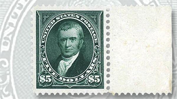 kelleher-sheet-margin-five-cent-marshall-stamp