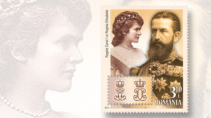 king-carol-queen-elisabeth-monograms-romania-stamp