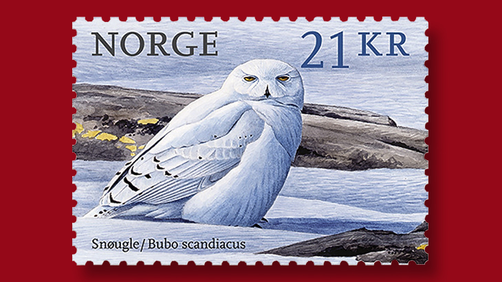 large-owl-norway-bird-definitive-series-stamp