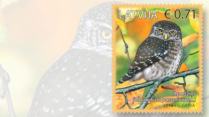latvia-birds-series-owl-stamp