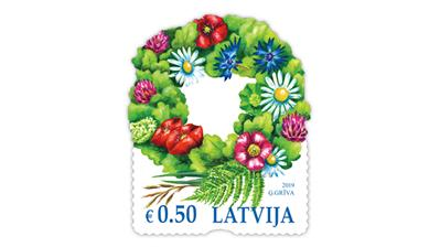 latvia-festival-floral-crown-stamp