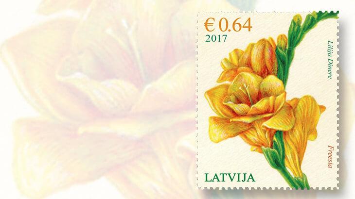 latvia-freesia-flower-stamp