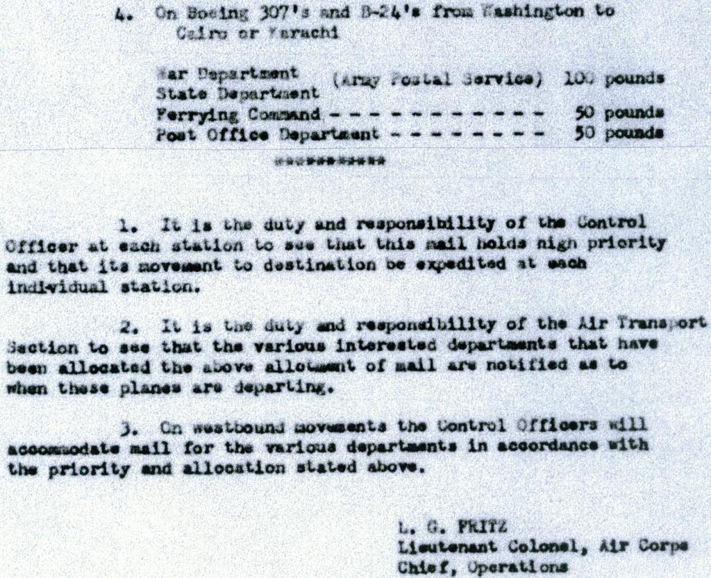 lawrence-fritz-mail-allocation-order-egypt-india-washington-flights-1942