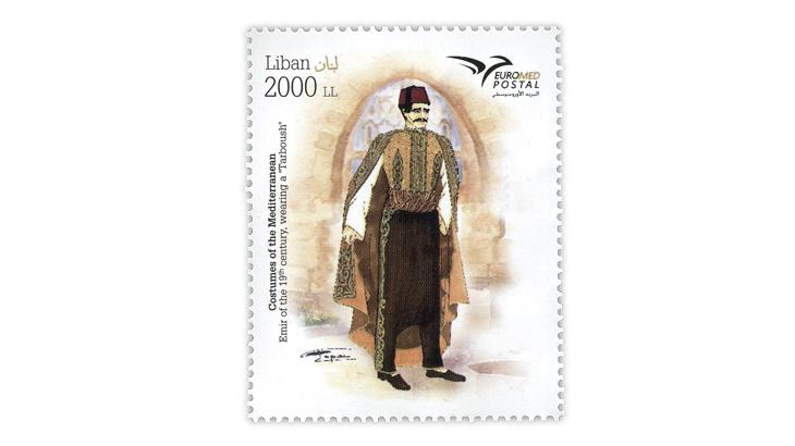lebanon-2019-euromed-19th-century-emir-costume-stamp