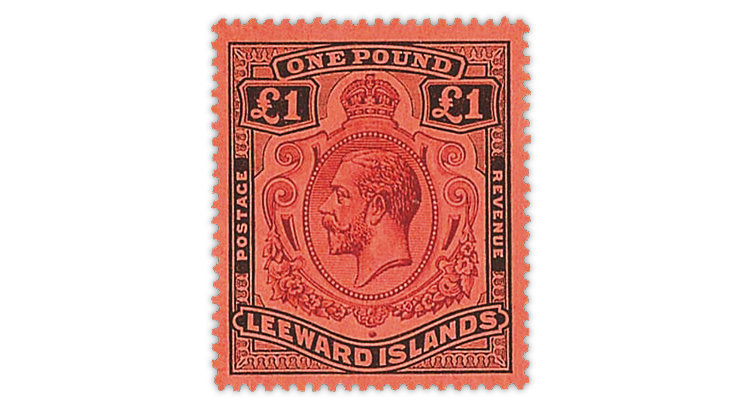leeward-islands-one-pound-king-george-stamp-spink-auction