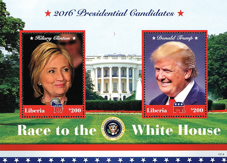 One Souvenir Sheet In Liberiau0027s Race To The White House Set Pictures United  States Presidential Candidates Hillary Clinton And Donald Trump On $200  Stamps.