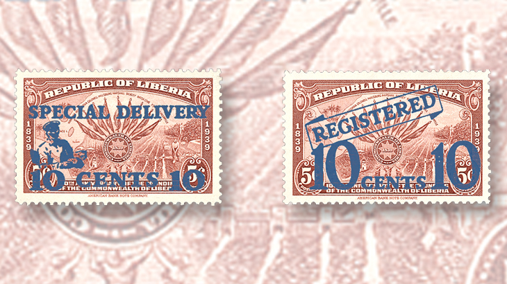 liberia-registration-special-delivery-surcharge-stamps-1941
