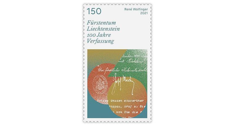 liechtenstein-2021-100th-anniversary-constitution-stamp