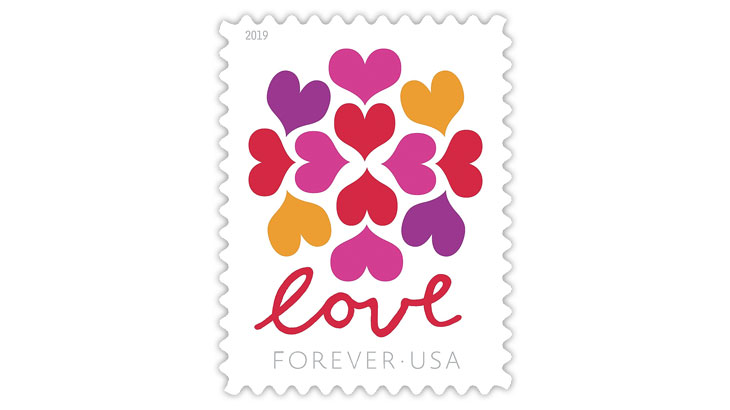 Love Hearts Blossom forever stamp