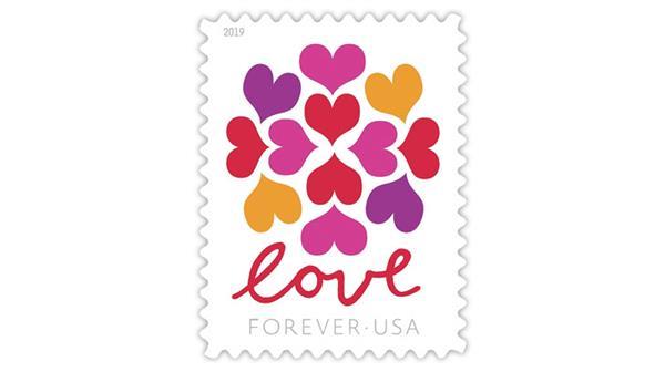Love Hearts Blossom forever stamp