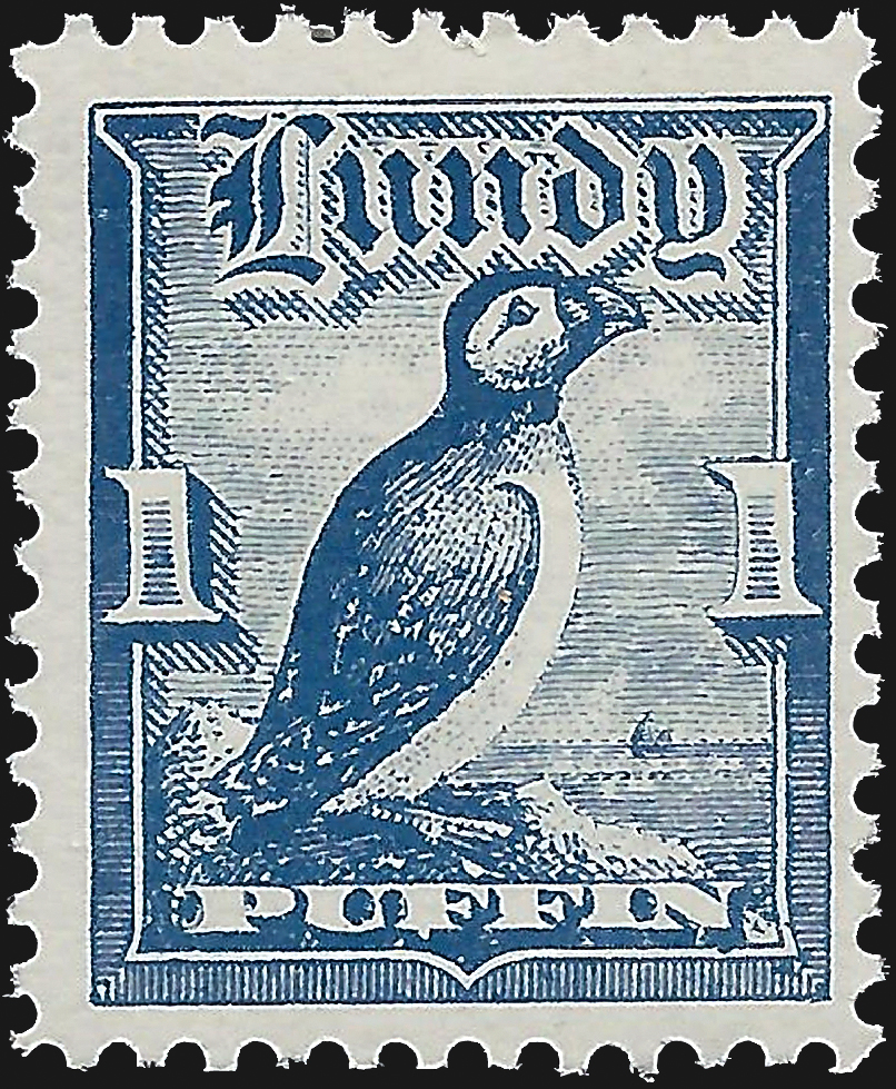 lundy-one-puffin-bird-stamp-1929