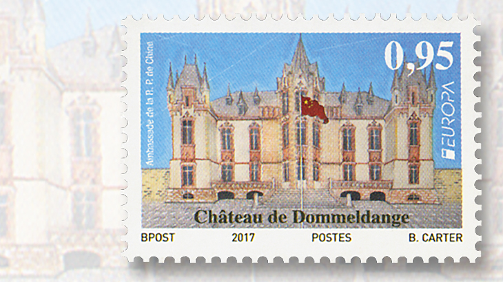 luxembourg-dommeldange-castle-europa-stamp