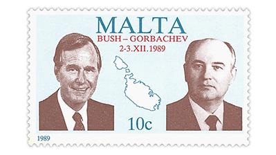 Malta President George H.W. Bush and Mikhail Gorbachev stamp from 1989.