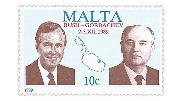 Malta President George H.W. Bush and Mikhail Gorbachev stamp from 1989.