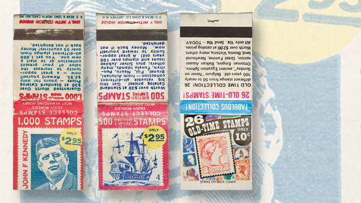 Stamp Dealer Ads On Matchbook Covers Geared To The General Public