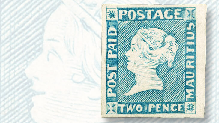 mauritius-two-penny-blue-stamp