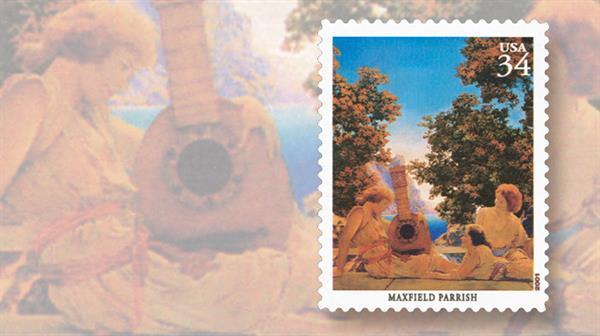 maxfield-parrish-artist-illustrator-stamp