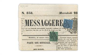 messaggere-di-modena-newspaper-1852-parma-newspaper-tax-stamp