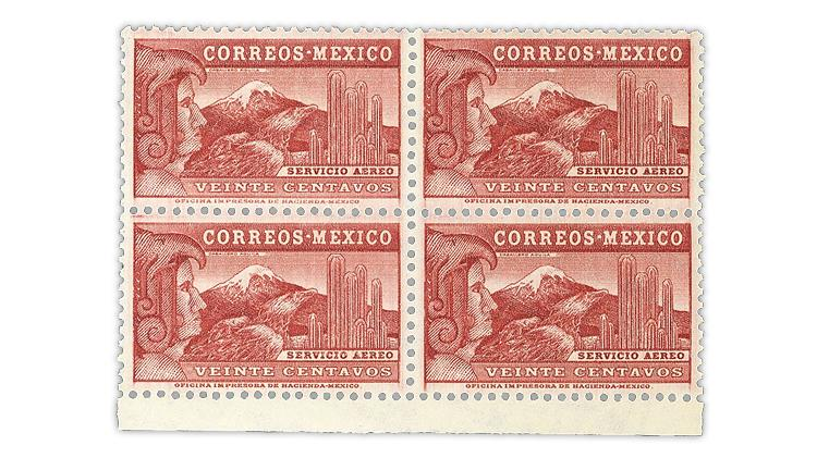 mexico-1936-20-centavo-watermarked-eagle-man-airmail-block