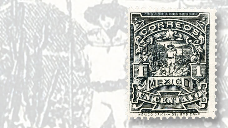 mexico-black-1895-one-centavo-letter-carrier-mulitas-stamp