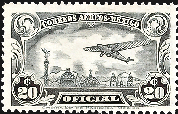 mexico-plane-over-mexico-city-official-airmail-stamps-1930
