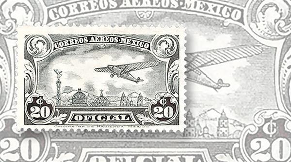 mexico-plane-over-mexico-city-official-airmail-stamps