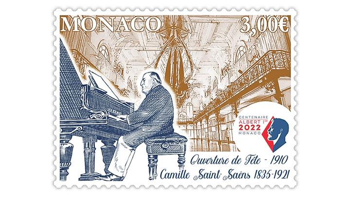 monaco-2021-camille-saint-saens-100th-death-anniversary-stamp