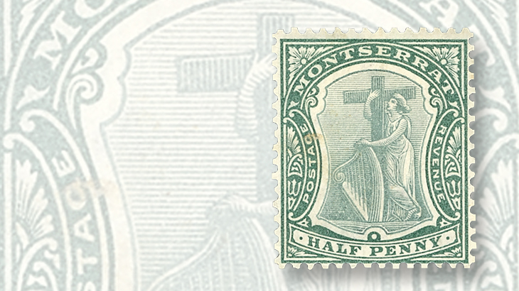 montserrat-1903-stamp-set-allegorical-ireland-harp-cross