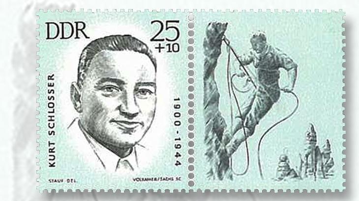 mountaineer-kurt-chlosser-25-pfennig-plus-10pf-stamp