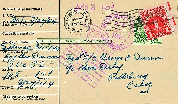 rules for returning undeliverable domestic postal cards after 1940