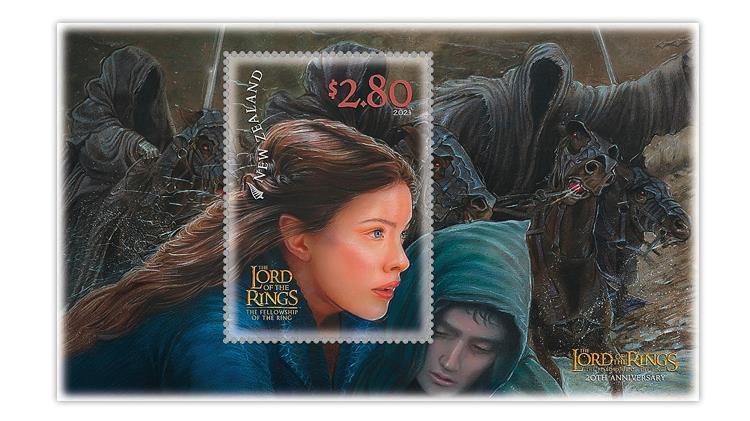 new-zealand-2021-lord-rings-frodo-princess-arwen-souvenir-sheet