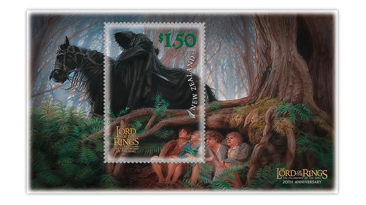 new-zealand-2021-lord-rings-mordor-black-rider-hobbits-souvenir-sheet