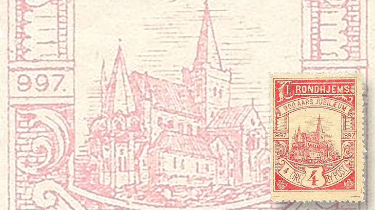 nordic-stamp-scene-trondheim-norway-by-post-local-post-900th-anniversary-cathedral