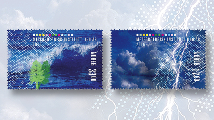 norway-weather-stamps-wave-trees-thunderstorm
