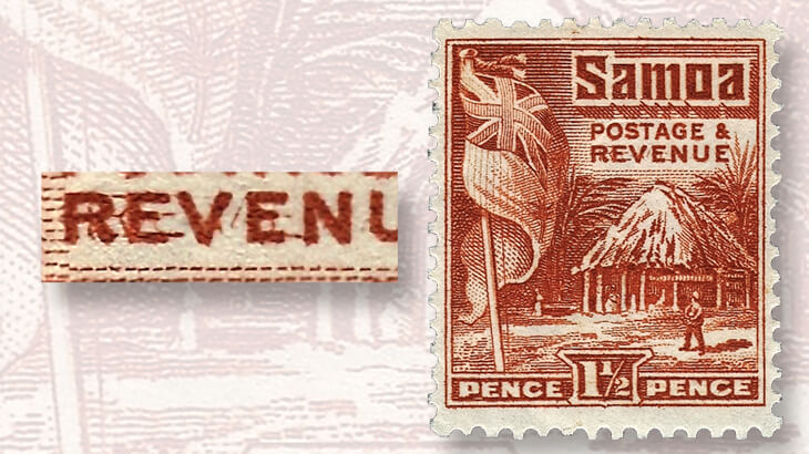 one-and-a-half-penny-hut-and-flag-revenue-stamps