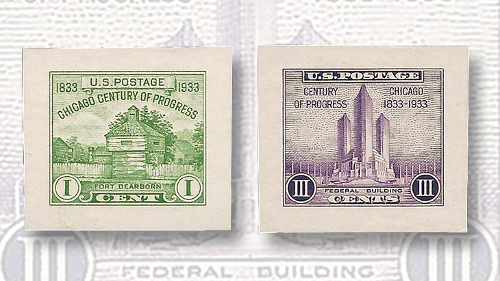 one-cent-yellow-green-three-cent-purple-century-progress