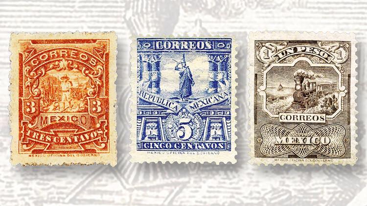 orange-blue-brown-mexico-1895-99-mail-transportation-mulitas-stamps