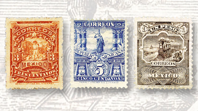 orange-blue-brown-mexico-1895-99-mail-transportation-mulitas-stamps
