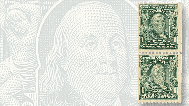 pair-1906-one-cent-blue-green-benjamin-franklin-vertical-coil-stamps