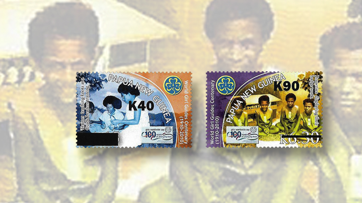 papua-new-guinea-surcharges-girl-guides-centenary-stamps