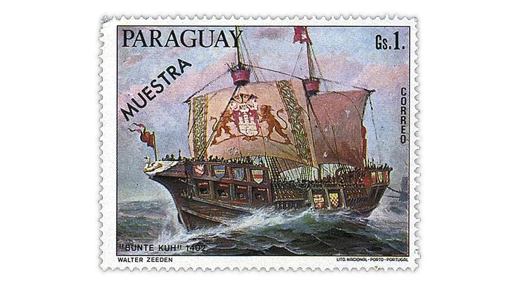 paraguay-1976-german-sailing-ships-stamp-muestra-overprint