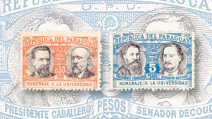 paraguay-50th-anniversary-national-university-stamps-1939