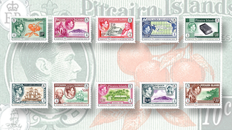 pitcairn-islands-anniversary-first-stamps-1940-51-hms-bounty-mutiny