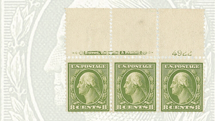 plate-and-imprint-strip-washington-franklin-stamps