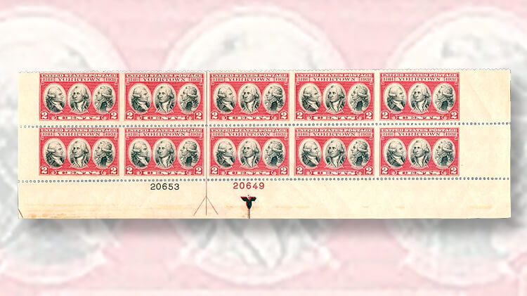 plate-block-1931-surrender-cornwallis-yorktown-commemorative-stamp