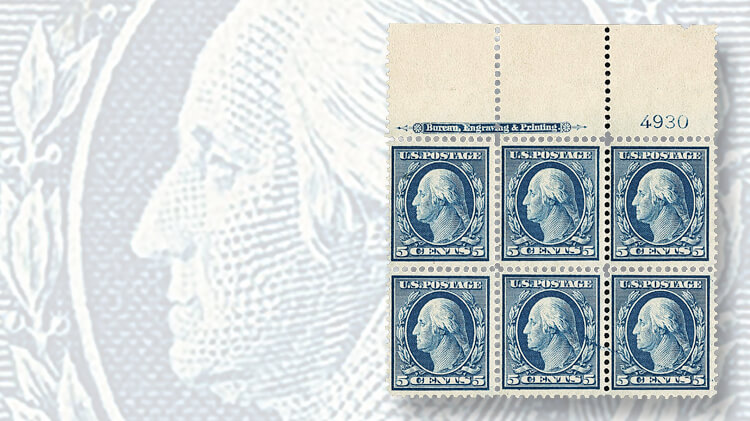 plate-block-six-washington-franklin-bluish-paper-stamps