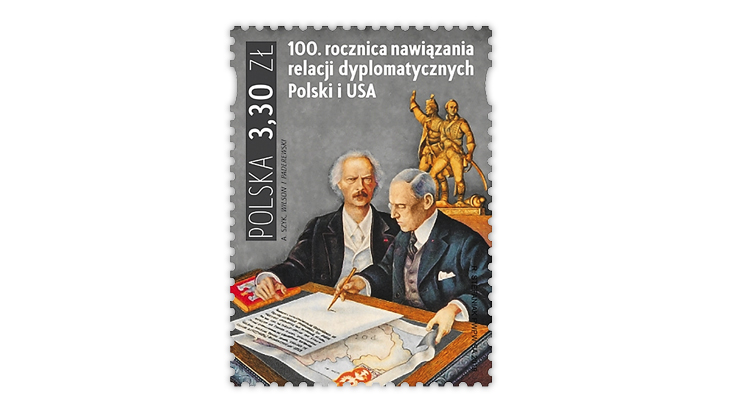 poland-2019-diplomatic-relations-united-states-stamp